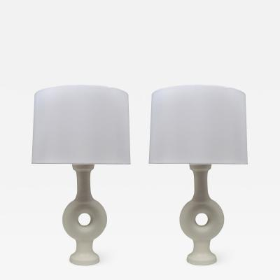 Suzanne Rami Pair of Annulaire Ceramic Vase Table Lamps