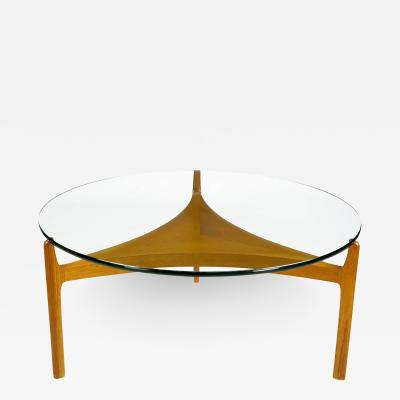 Sven Ellekoer Sven Ellekaer Danish Teak Reverse Trefoil Floating Glass Top Coffee Table
