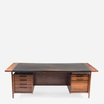 Sven Ivar Dysthe Mid Century Executive Desk In Rosewood and Leather by Sven Ivar Dysthe