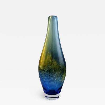 Sven Palmqvist Large Kraka art glass vase net pattern in blue and yellow green