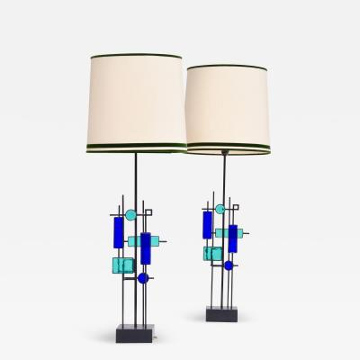 Svend Aage Holm S rensen Pair of Tall Mid Century Iron and Glass Table Lamps by Svend Aage Holm Sorensen