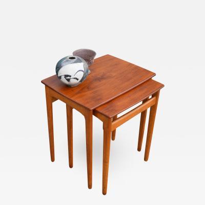 Svend Aage Madsen Early Quality Set of 2 Teak Oak Nesting Tables by Svend Madsen