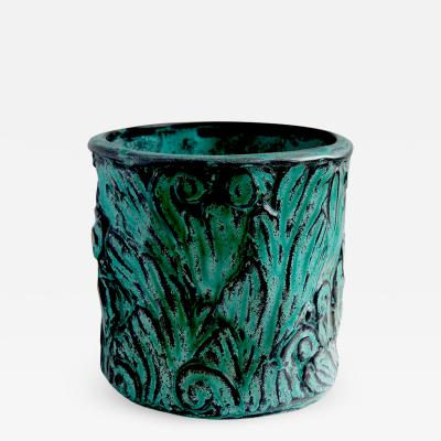 Svend Hammersh i Exquisite Vase with Energetic Acanthus Relief by Svend Hammershoi