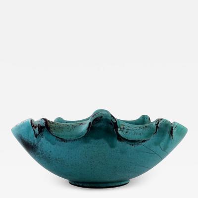 Svend Hammersh i Hammershoj Bowl in glazed stoneware Beautiful green black double glaze