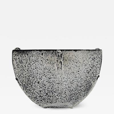 Svend Hammersh i Hammershoj Large glazed flower basin jardiniere in beautiful black and white double glaze