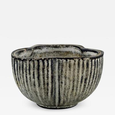 Svend Hammersh i Hammershoj Small vase bowl in glazed stoneware Beautiful gray black double glaze