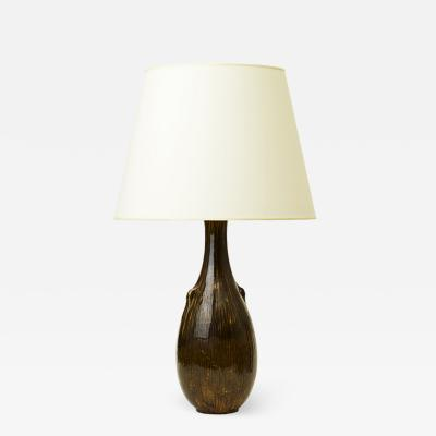 Svend Hammersh i Hammershoj Table lamp in smoky yellow glaze by Svend Hammersh i