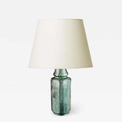 Svend Hammersh i Hammershoj Table lamp with pale teal black glaze by