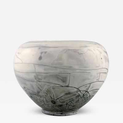 Svend Hammersh i Hammershoj Vase in glazed stoneware Beautiful gray black double glaze