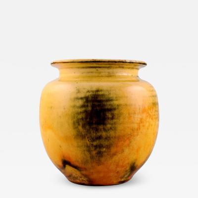 Svend Hammersh i Hammershoj Vase in glazed stoneware Beautiful yellow uranium glaze
