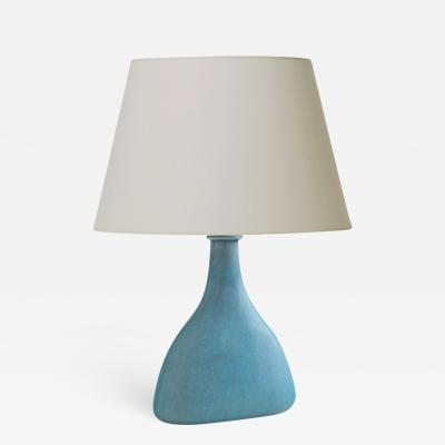 Svend Hammersh i Table Lamp with Shallow Depth in Pale Turquoise Glaze by Svend Hammersh i