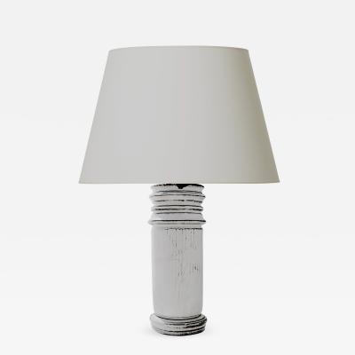 Svend Hammershoj Rare Table Lamp Model Encircled in Carved Flutes by Svend Hammersh i