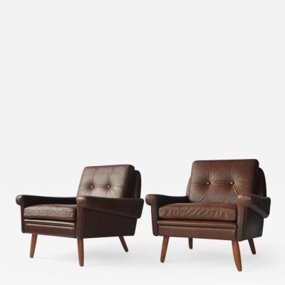 Svend Skipper Pair of Svend Skipper Leather Lounge Chairs