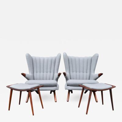 Svend Skipper Rare Pair Svend Skipper Restored Papa Bear Lounge Chairs Ottomans