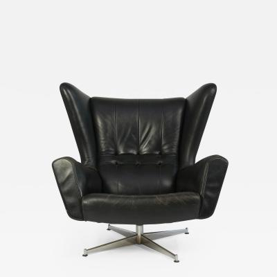 Svend Skipper Svend Skipper Leather Lounge Chair and Ottoman