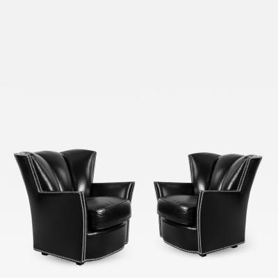 Swaim Furniture PAIR OF CONTEMPORARY BLACK LEATHER STUDDED CLUB CHAIRS