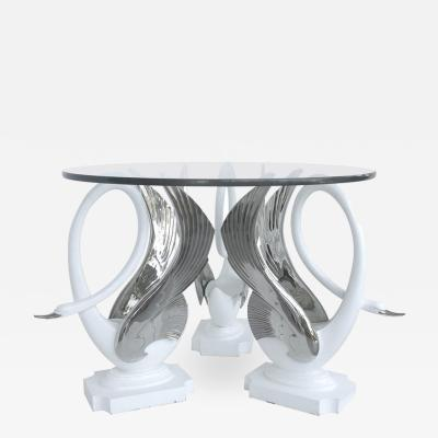 Swan Center Side Table in Resin with Silver Bases and Round Glass Top