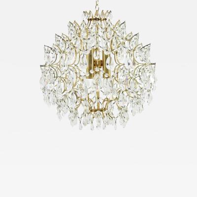 Swarovski Crystal Glass and Gold Chandelier 1970s