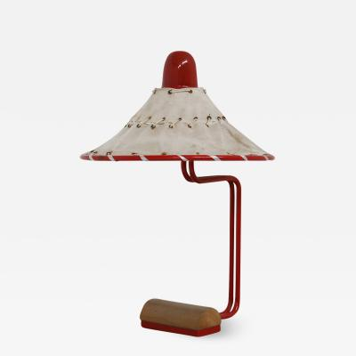 Sweden Table Lamps by Ingrid of Sweden in Aluminum Red and Linen Cotton 1970s