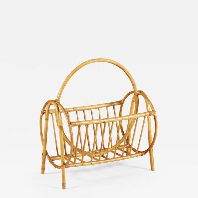 Swedish 1950s rattan and bamboo curved magazine rack