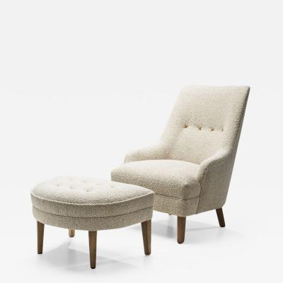 Swedish Armchair with Footstool Sweden ca 1950s