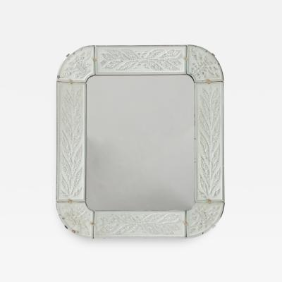 Swedish Art D co Mirror Fine Engraving with Circular Leaves
