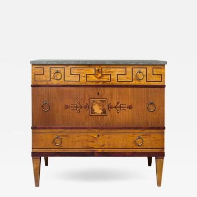 Swedish Art Deco Marquetry Chest with Stone Top