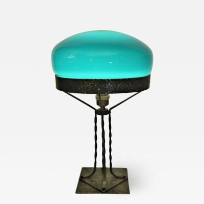 Swedish Art Nouveau Wrought Iron and Hand blown Glass Table Lamp 1910 s