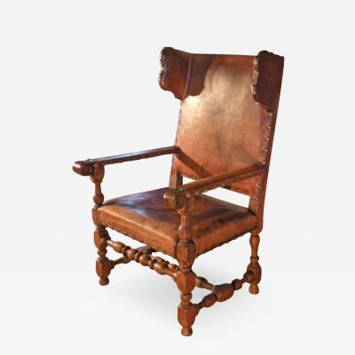 Swedish Baroque 17th Century Leather Covered Wing Back Armchair