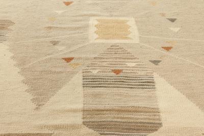 Swedish Beige Brown and Orange Flat Weave Wool Rug