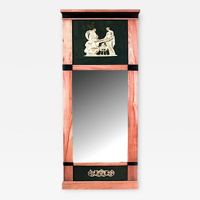 Swedish Biedermeier Maple and Black Lacquered Wall Mirror