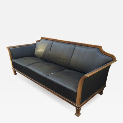 Swedish Big Solid Walnut Couch in Vintage Condition