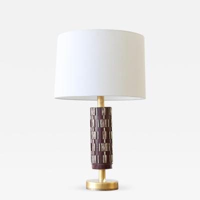 Swedish Ceramic and Brass Table Lamp