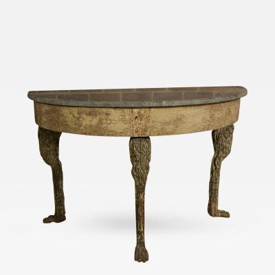 Swedish Console with Marble Top