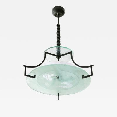 Swedish Etched glass and iron chandelier with fish and wave design