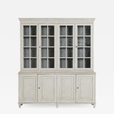 Swedish Gustavian Style Four Door Glass Vitrine Bookcase Cabinet