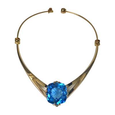 Swedish Leif Bergmark 18K Blue Topaz Necklace Sweden 20th century