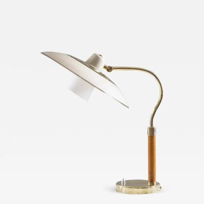Swedish Midcentury Table Lamp in Brass Glass and Wood 1940s