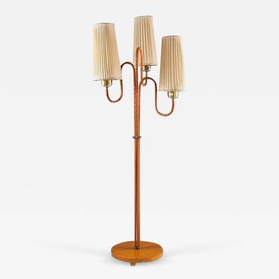 Swedish Modern Floor Lamp in Brass and Leather
