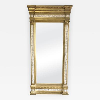 Swedish Neoclassic Monumental Cream Painted Parcel Gilt Pier Mirror early19 C