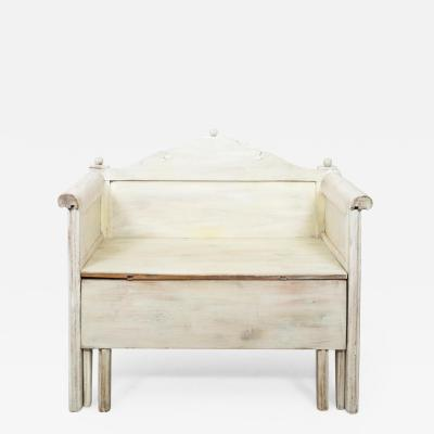 Swedish Painted Storage Bench Ca 1900