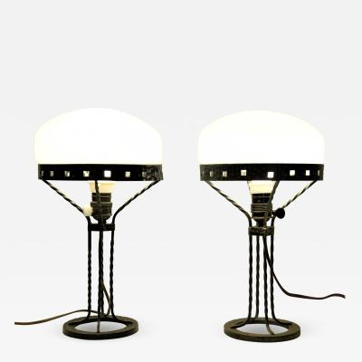 Swedish Pair Art Noueau Wrought Iron and Blown Glass Table Lamps 1915