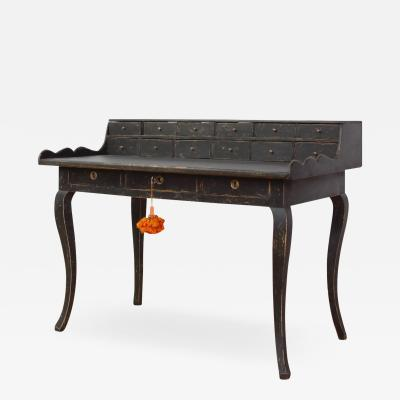 Swedish Rococo Black Painted Desk