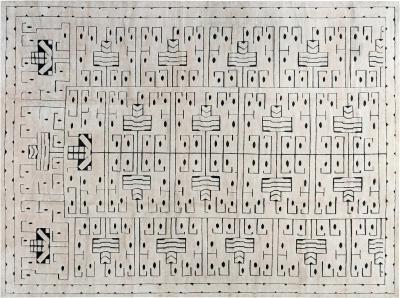 Swedish Skvattram Half Pile Geometric Black and Beige Rug