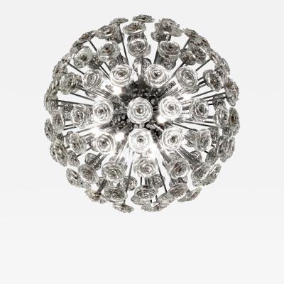 Swedish Sphere Chandelier in Chrome with Glass Flowers 1960s