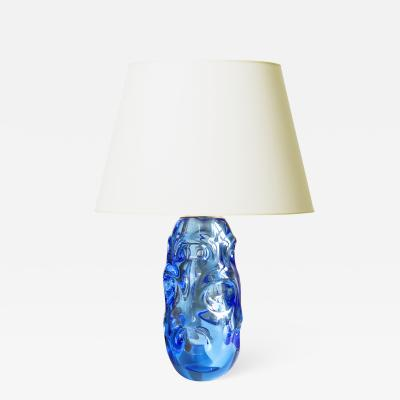 Swedish organically modeled Functionalist table lamp in ultramarine blue glass