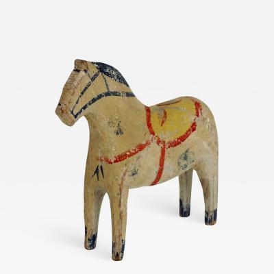 Swedish original carved horse from Dalarna in original paint 19th C