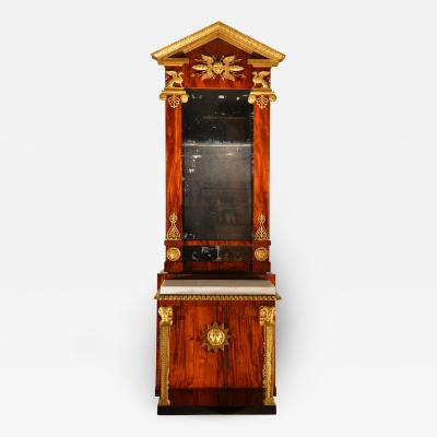 Swedish parcel gilt mahogany pier mirror and marble top console table