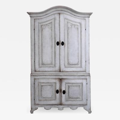 Swedish two parts cabinet richly carved from Vermland circa 1750
