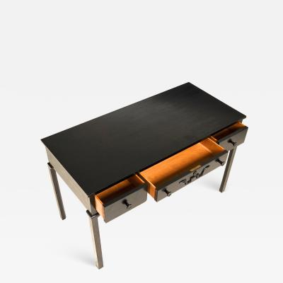 Sweedish early superb black lacquered 3 drawers desk